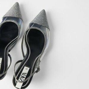 NWT Zara Pointed Sparkly Vinyl Slingback Heels